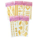 Temporary Glitter Tattoo - Gold Mix - Pack of 5