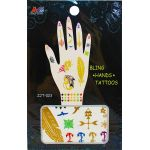 Temporary Hand Bling Tattoo Mix - Pack of 5