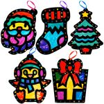 Stained Glass Christmas Hanging Deco Pack of 5