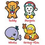 Suncatcher 4-in-1 Keychain Box Kit - Butterfly, Penguin, Squirrel, Ape