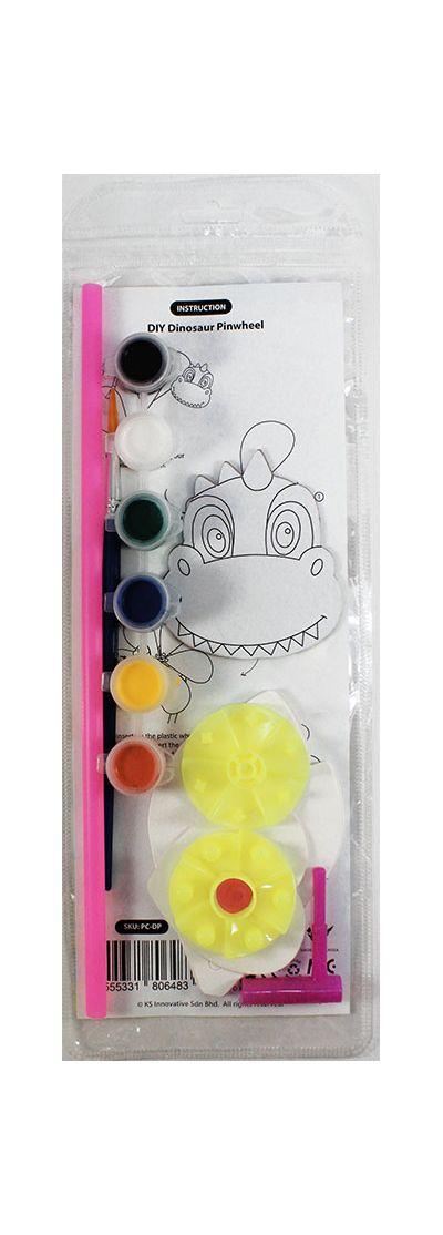 DIY Pinwheel Kit - Dinosaur - Packaging BackDIY Pinwheel Kit - Dinosaur - Packaging Front