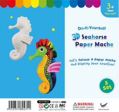 3D Animal Paper Mache - Pack of 5 - Seahorse