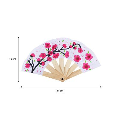 Chinese New Year Paper Fan Pack of 5 - Spring Flower - Size