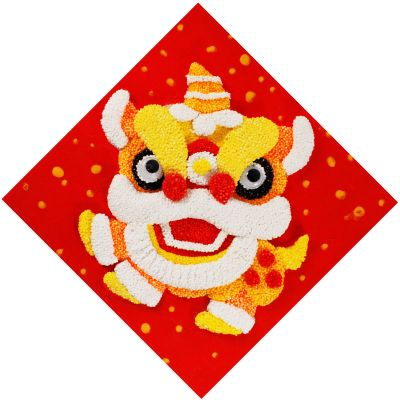 Chinese New Year Foam Clay Canvas Kit - Lion Dance