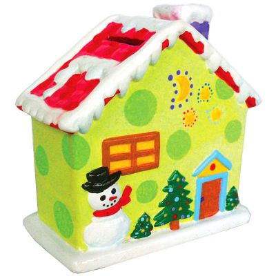 House Ceramic Coin Bank Painting - Winter Cottage