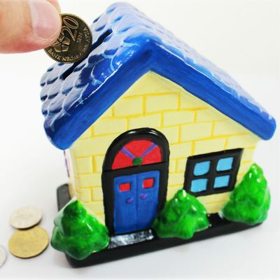 House Ceramic Coin Bank - Save Your Money!