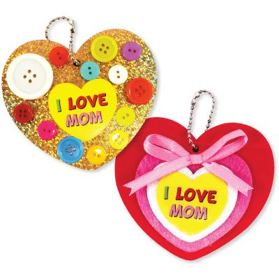 Mother's Day Buttons Heart Keychain