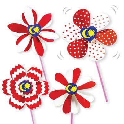 DIY Merdeka Flower Pinwheel Pack of 10