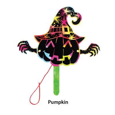 Scratch Art Halloween Puppet - Pumpkin