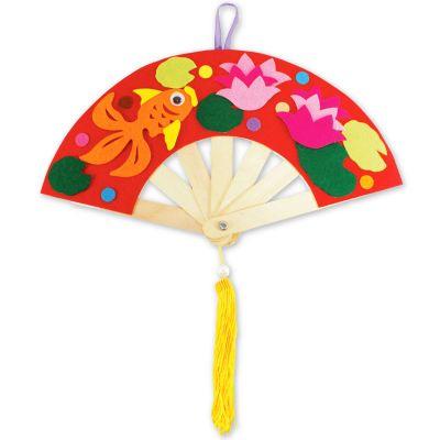 Felt Chinese New Year Fan Pack of 5 - Goldfish