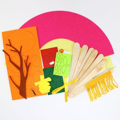 Felt Chinese New Year Fan Pack of 5 - Mandarin Orange - Contents