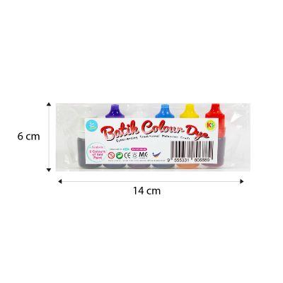 Batik Colour Dye Dropper Bottle - 6 x 5ml - Packaging Size