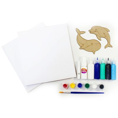 Canvas Pouring Art Box Set - Dolphin And Whale - Contents