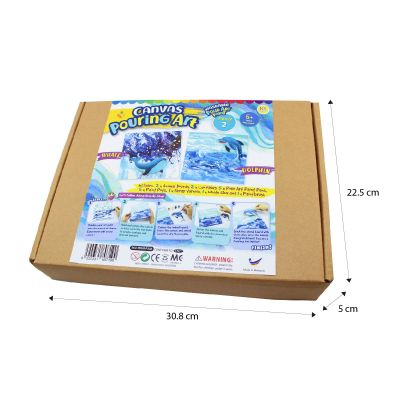 Canvas Pouring Art Box Set - Dolphin And Whale - Box Size