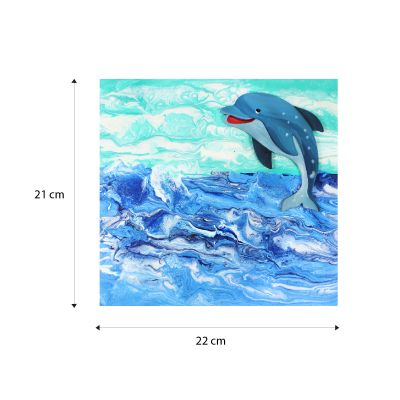 Canvas Pouring Art Box Set - Dolphin And Whale - Canvas Size