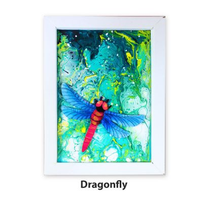 Pour Art Painting Kit With 3D Frame - Insects Theme - Dragonfly
