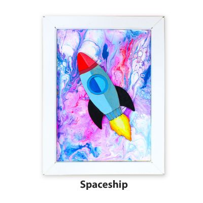 Pour Art Painting Kit With 3D Frame - Space Theme - Spaceship