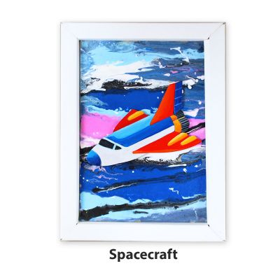 Pour Art Painting Kit With 3D Frame - Space Theme - Spacecraft