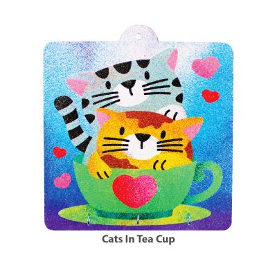 Sand Art Key Hanger Board Kit - Cats on Teacup