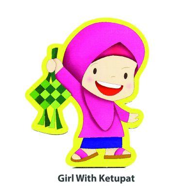 Wooden Raya Stand - Girl WIth Ketupat