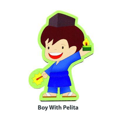 Wooden Raya Stand - Boy With Pelita