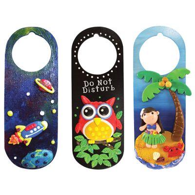 My-Clay Door Tag - Space Journey, Good Night Owl and Girl in Hawaii Island