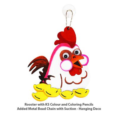 Rooster Colouring Board with KS Colour and Colour Pencils. Added metal bead keychain with suction - hanging decoration.