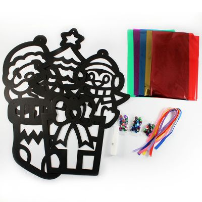 Stained Glass Christmas Hanging Deco Pack of 5 - Content