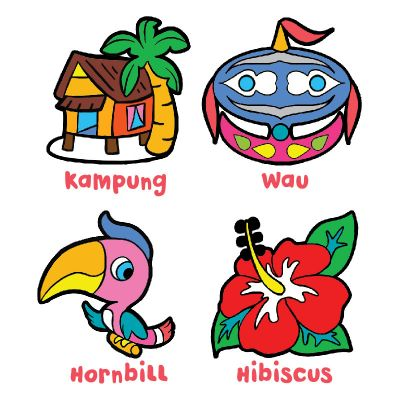 Suncatcher 4-in-1 Keychain Box Kit - Kampung, Wau, Hornbill, Hibiscus