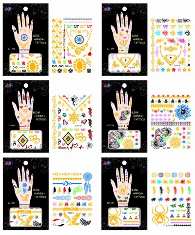Temporary Hand Bling Tattoo Mix - Assorted Designs