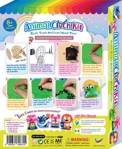 Animal Clock Stand Box Kit - Packaging BackAnimal Clock Stand Box Kit