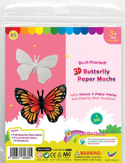 3D Animal Paper Mache Painting Kit - Butterfly