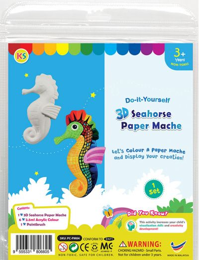 3D Animal Paper Mache Painting Kit - Seahorse