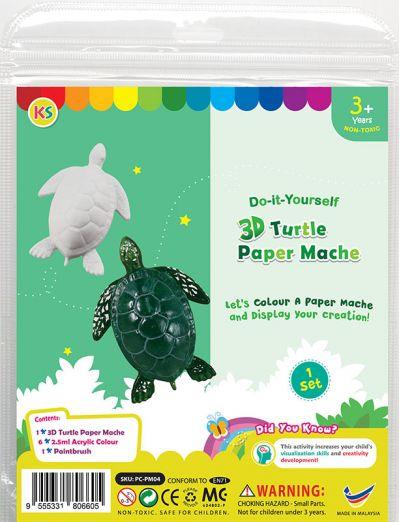 3D Animal Paper Mache Painting Kit - Sea Turtle