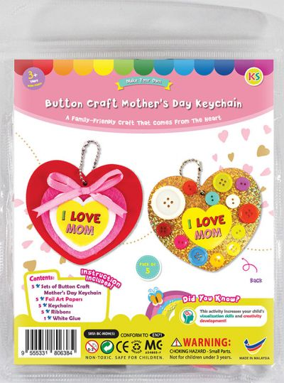 Mother's Day Buttons Heart Keychain - Packaging Front