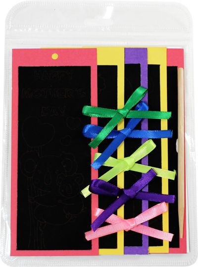 Scratch Art Mother's Day Bookmark Pack of 5 - Packaging Back