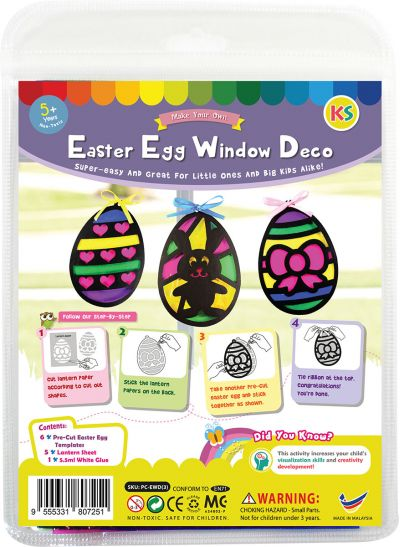 Stained Glass Easter Egg Window Deco Kit