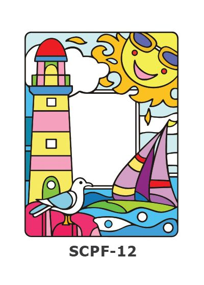 Suncatcher Photo Frame - Boat Sailing at Pier with Lighthouse