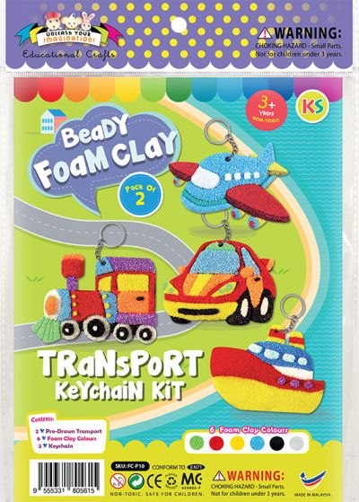 Foam Clay 2-in-1 Transport Keychain Kit - Train And Car - Packaging Front
