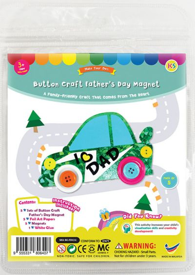Felt Father's Day Buttons Car Magnet Pack of 5 - Packaging Front