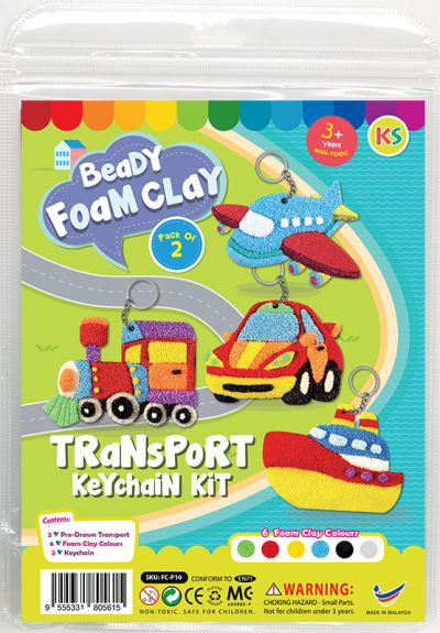 Foam Clay 2-in-1 Transport Keychain Kit - Train and Car/Aeroplane and Ship