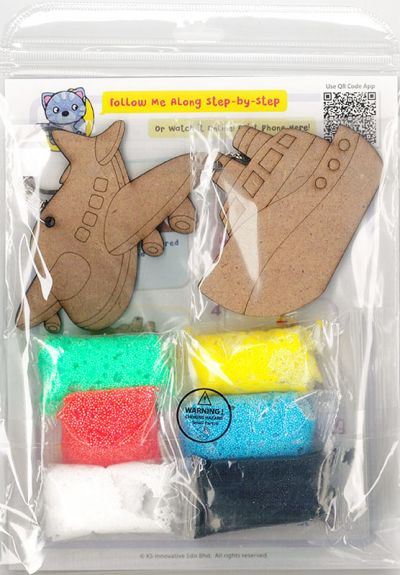 Foam Clay 2-in-1 Transport Keychain Kit - Train and Car/Aeroplane and Ship - Packaging Back