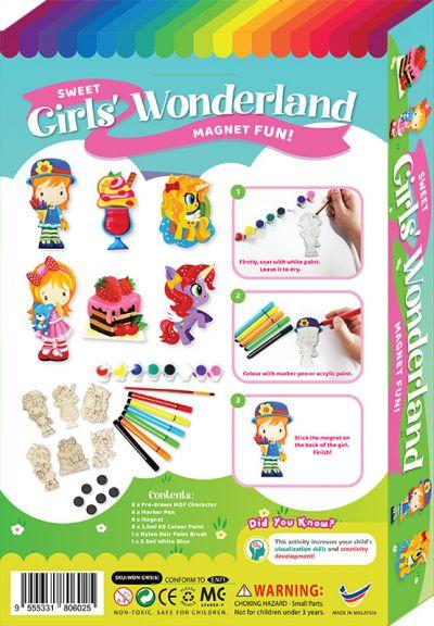 Sweet Girls' Wonderland Magnet Fun Box Kit - 6-in-1 - Packaging Back