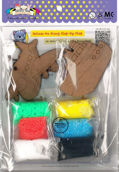 Foam Clay 2-in-1 Transport Keychain Kit - Aeroplane And Ship - Packaging Back