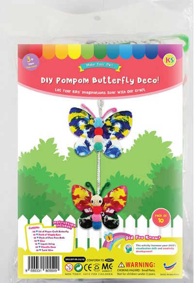 DIY Pompom Butterfly Deco Pack of 10 - Packaging Front