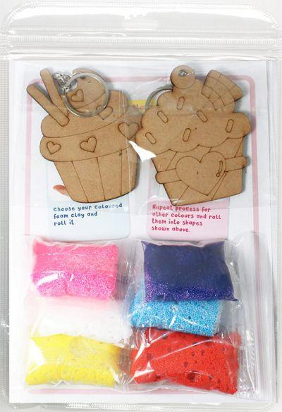 Foam Clay 2-in-1 Cupcake Keychain Kit - Packaging Back