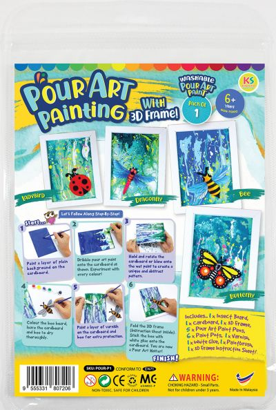 Pour Art Painting Kit With 3D Frame - Insects Theme