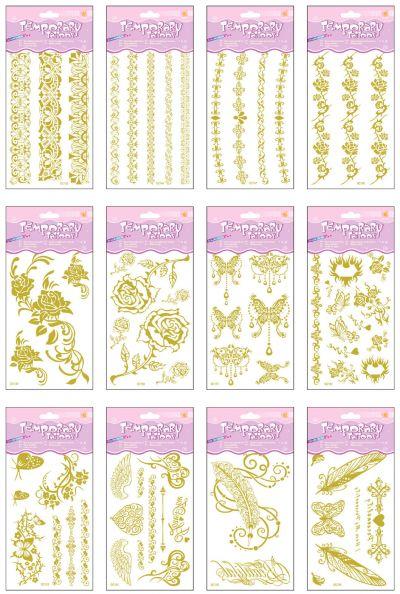 Temporary Glitter Tattoo - Gold Mix - Assorted Designs