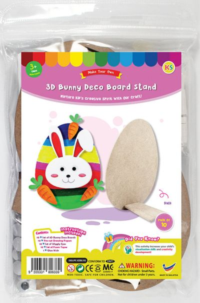 3D Bunny Deco Board Stand Pack of 10 - Front Packaging