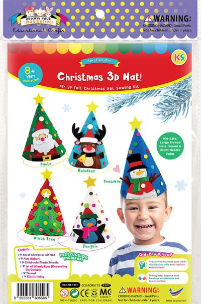 Felt Christmas 3D Hat Kit - Packaging Front
